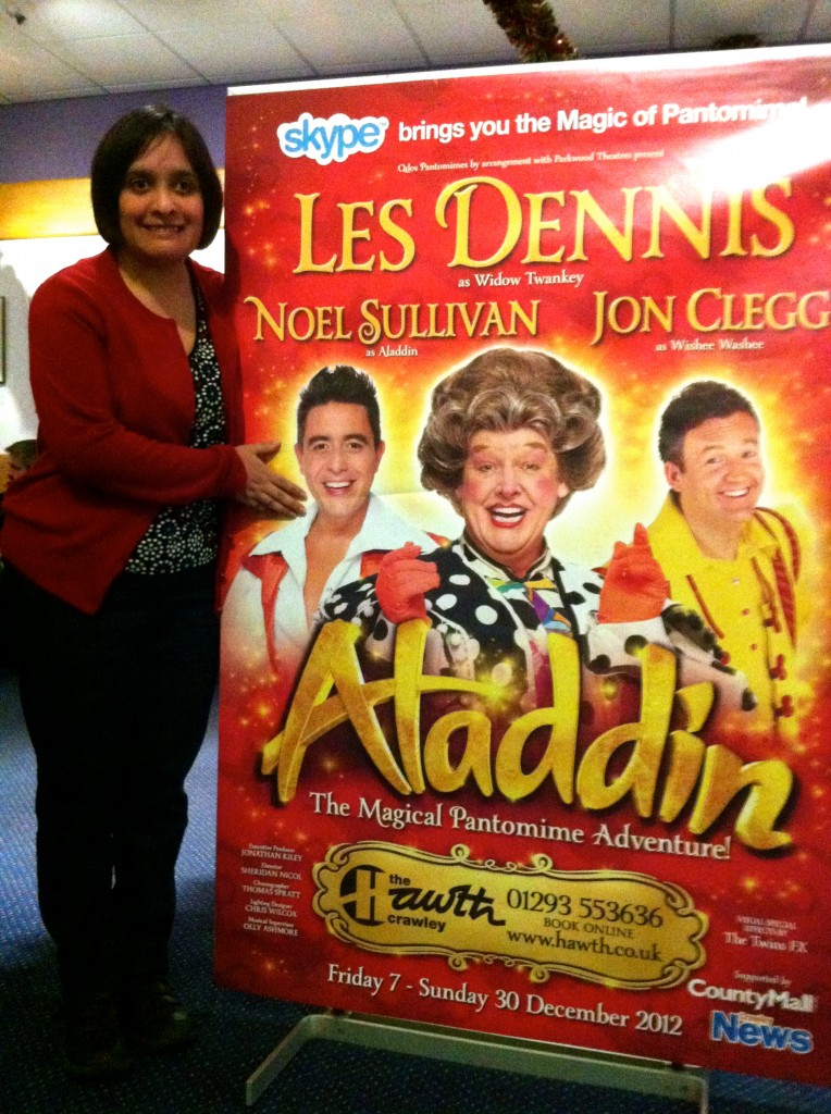 My sis surely isn't going to meet her idol in panto? Oh yes she is!