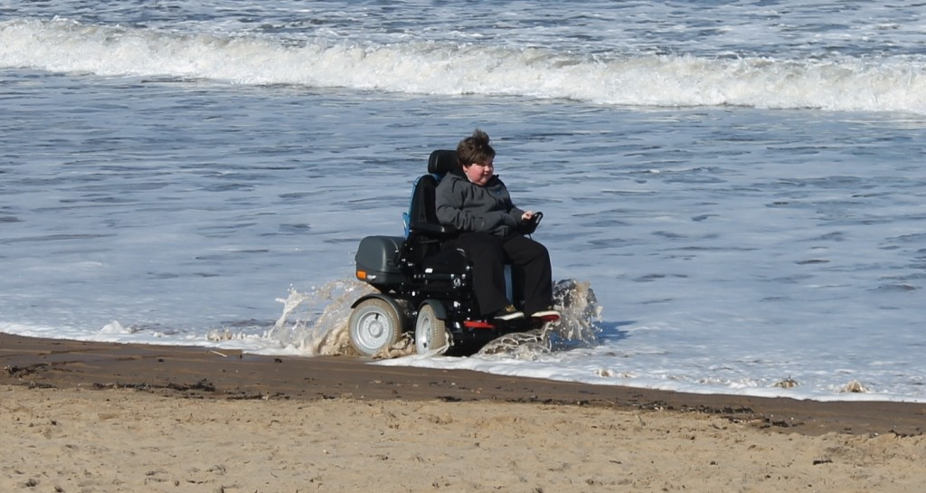James Smith in his all-terrain wheelchair in Tynemouth