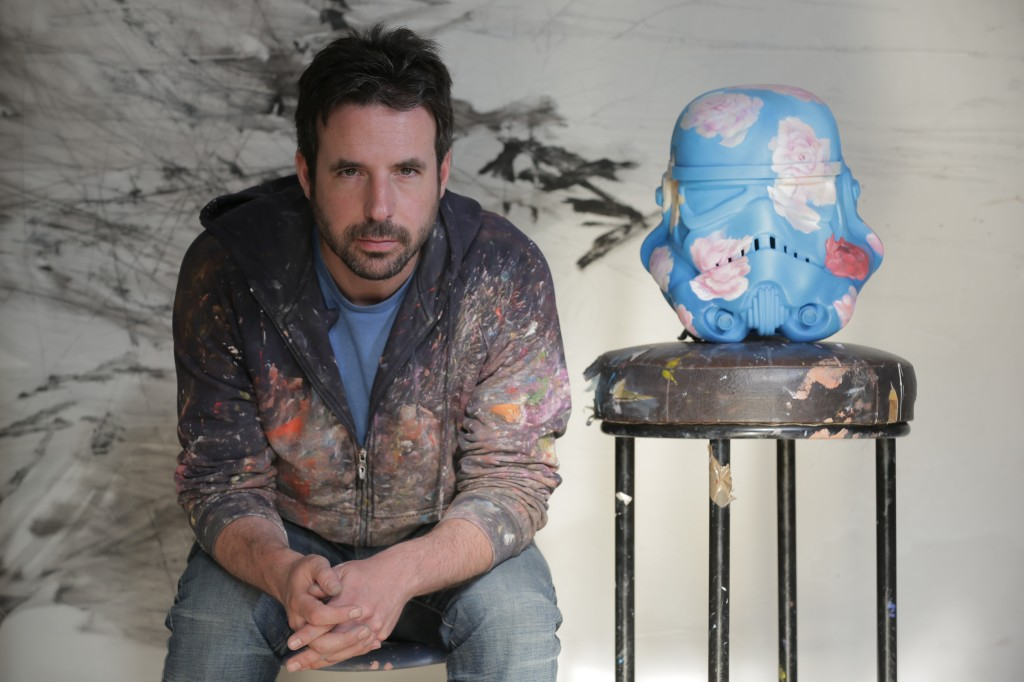 Antony Micallef with his 'Peace Maker' helmet,  for the Art Wars show