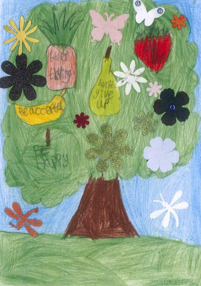"An awareness-raising postcard by Cameron, 18: ""Each fruit on my tree of life displays a message for me to follow. This helps me to mature and develop""."