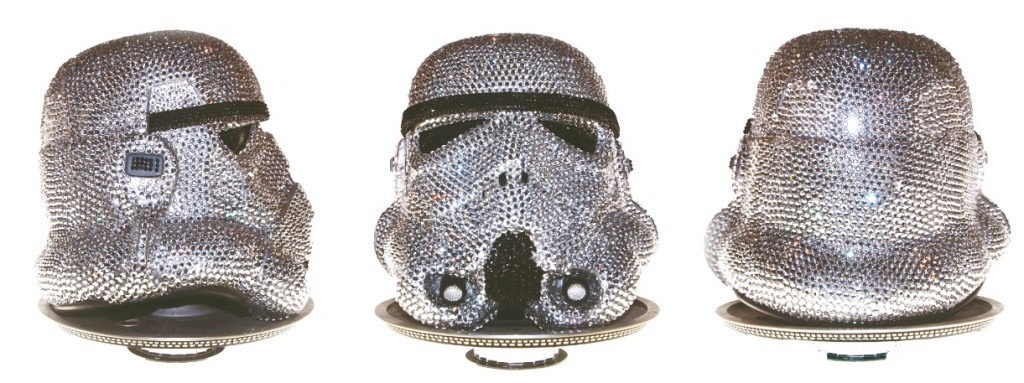 'StormOffSki': Stormtrooper head encrusted in Swarowksi crystals by Ben Moore
