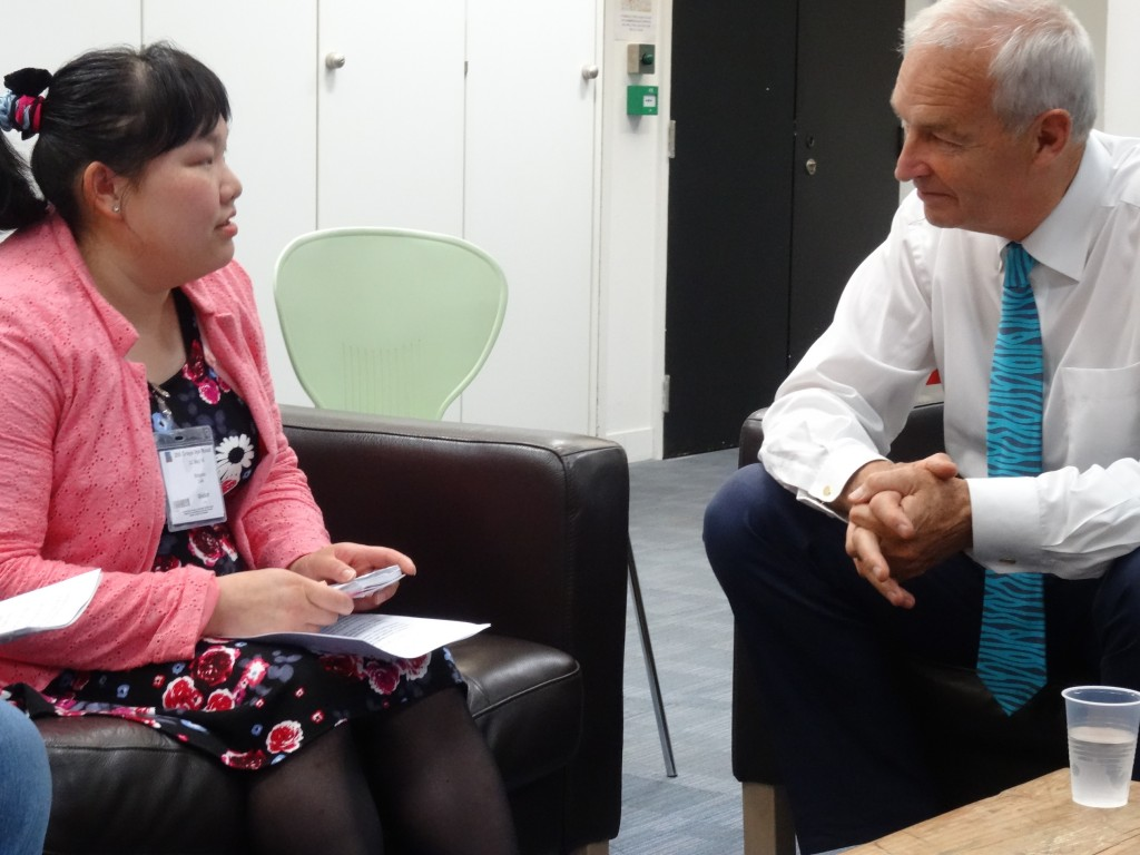 Shanna Lau discusses voting and accessibility with Channel 4 news anchor Jon Snow