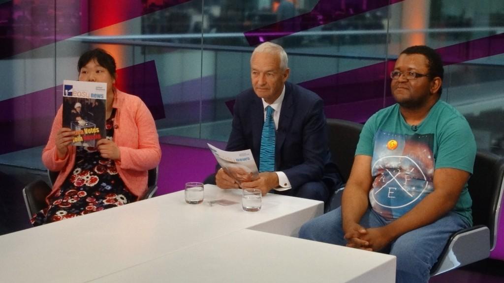 L-R, Shanna Lau, Jon Snow and Jermaine Williams at Channel 4