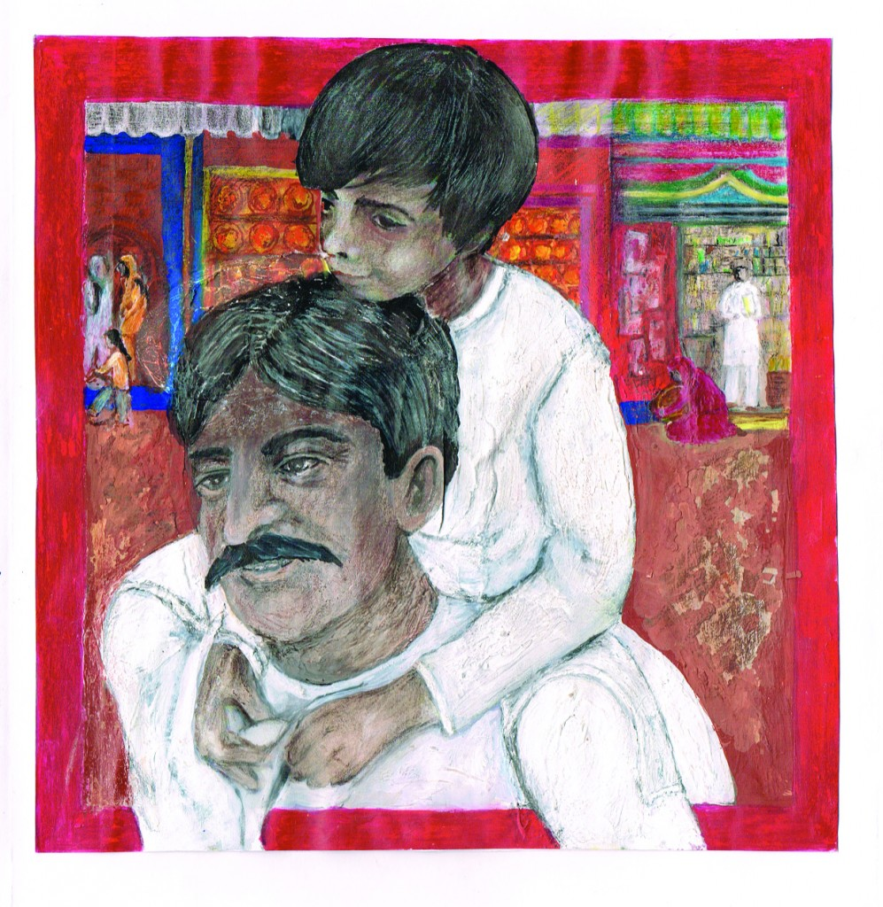 An image from the new book Billu Leaves India! (Artist: Iain MacLeod-Brudenell)