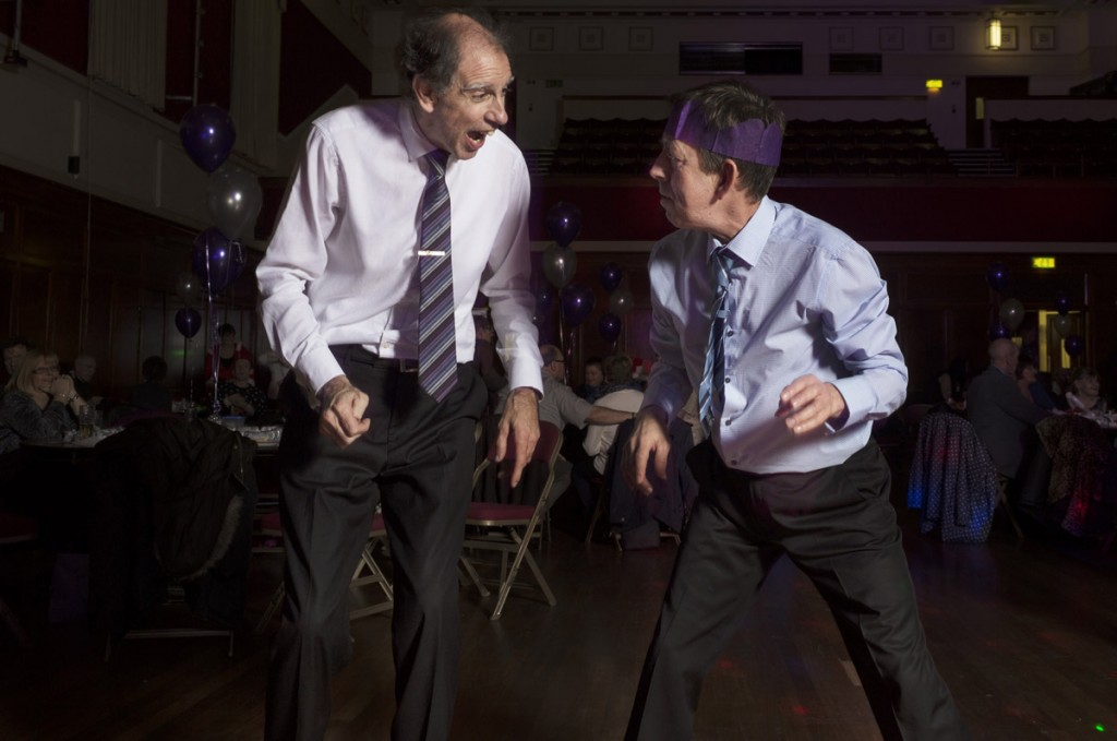 Raymond and Peter, Christmas Party 2014, Civic Hall, Ellesmere Port, Cheshire