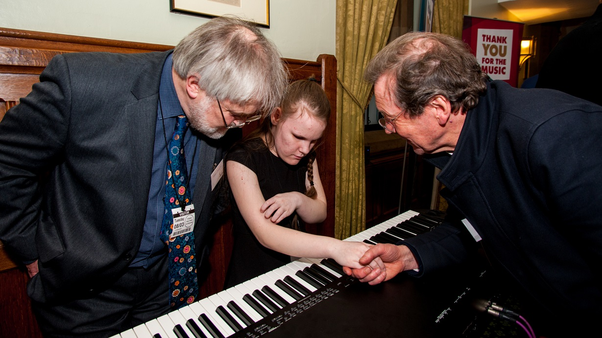 Young pianist Ashleigh Turley at the launch of a campaign to create a new training centre for talented young musicians with disabilities