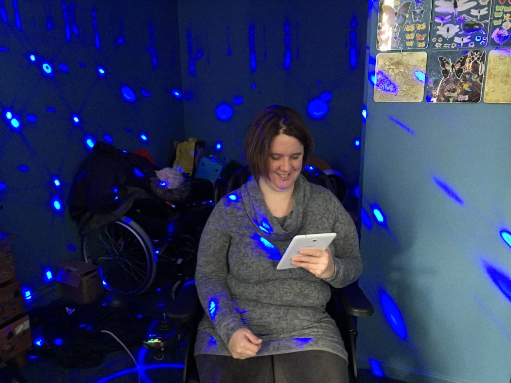 Kay Alston in her sensory room at home in London.